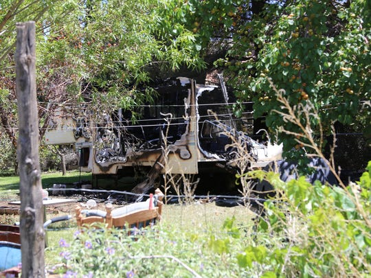 A trailer in LaVerkin was engulfed in flames Monday morning when Hurricane Valley Fire and Rescue responded to a call about an explosion. The trailer and its contents were a complete loss.