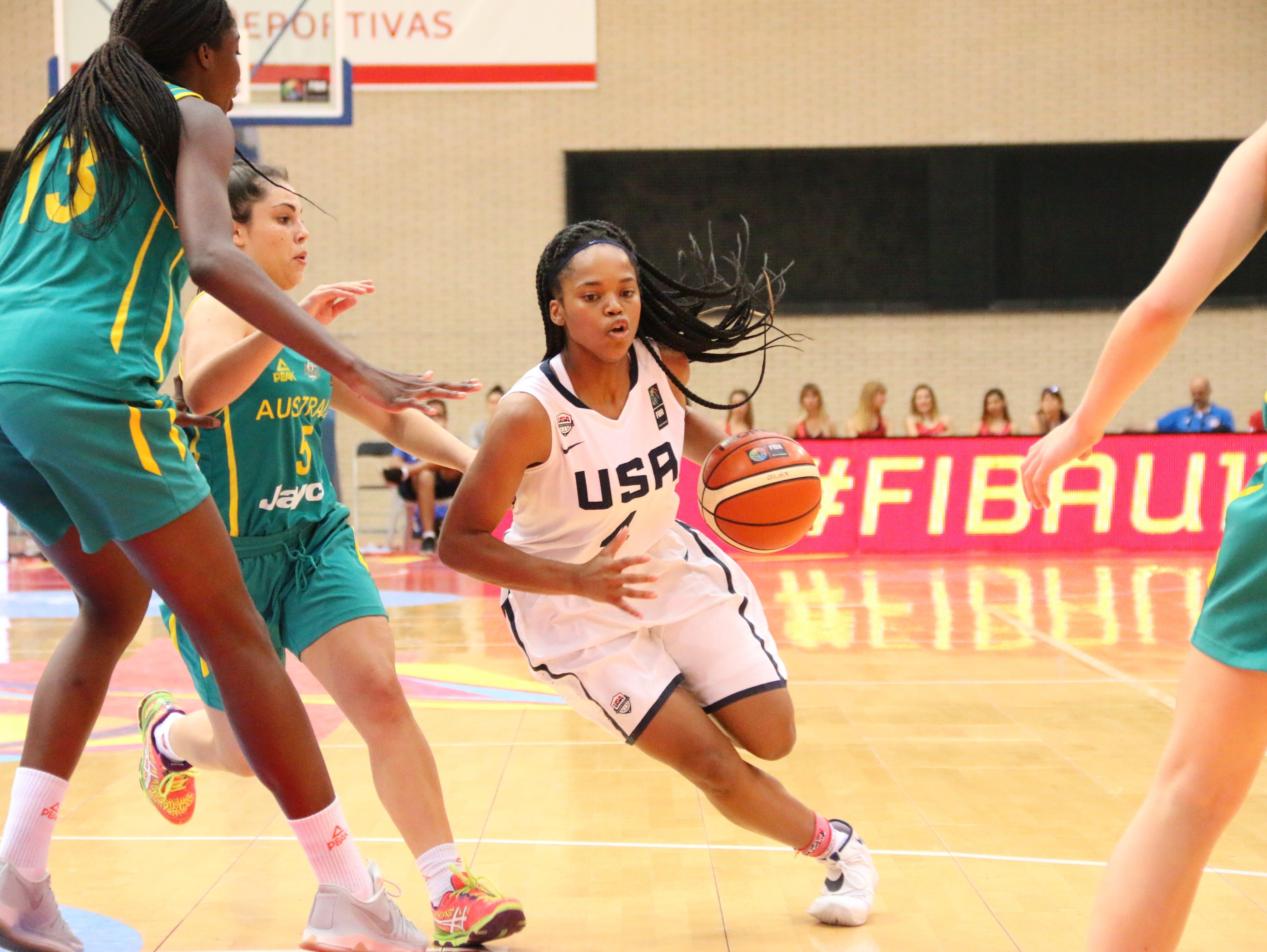 Destanni Henderson drives against Australia in the FIBA U17 Women's World Basketball Championships on Friday, July 1, 2016 in Zaragoza, Spain