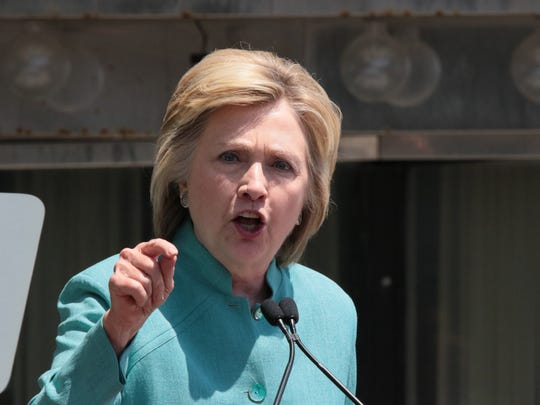 ATLANTIC CITY, NJ - JULY 06:  Presumptive Democratic presidential nominee Hillary Clinton speaks at the podium at Boardwalk Hall Arena on July 6, 2016 in Atlantic City, New Jersey. (Photo by Donald Kravitz/WireImage)