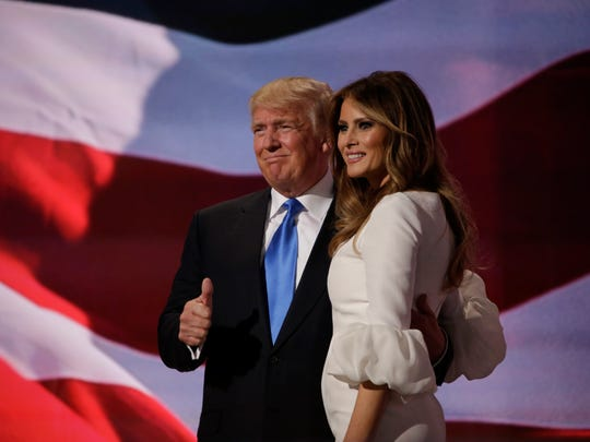 Donald Trump and his wife Melania Trump after her speech.