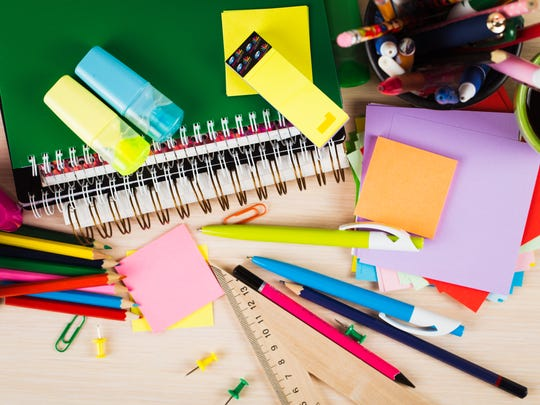 Stock image of school supplies