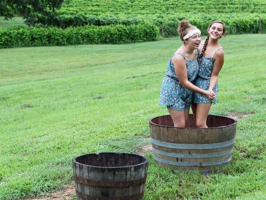 Jessica Hilbun, 14, and Victoria Jackson, 15, dance