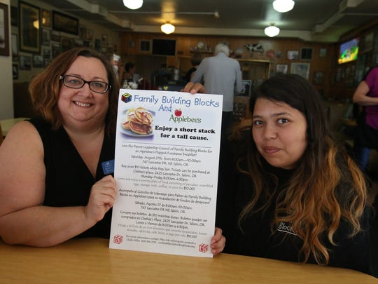 Chelle Miller, left and Tiffany Green of Family Building Blocks were promoting a pancake fundraiser to train parents.