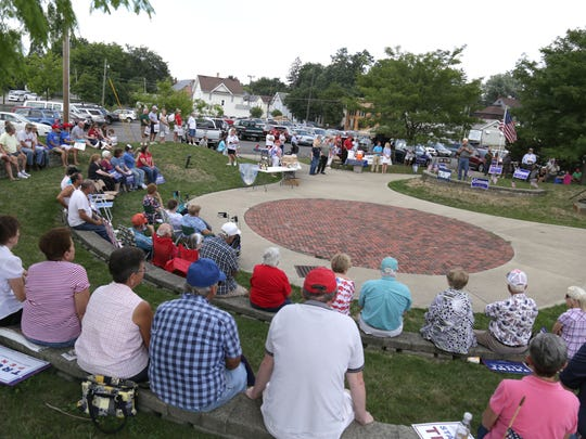 Supporters of Donald Trump gathered at Ringler Park in Ashland on Saturday.