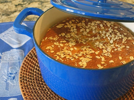 No-Knead Oatmeal Bread can be baked in a Dutch oven.