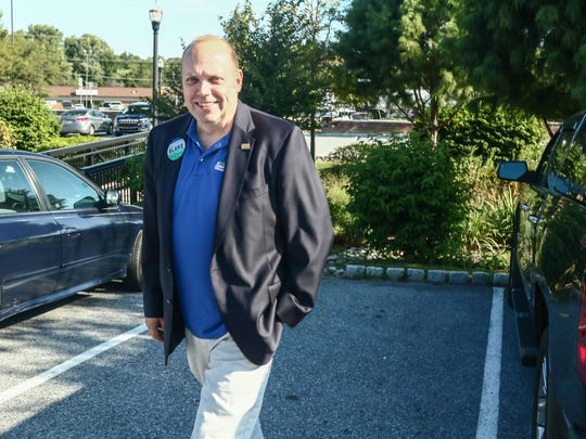 Republican New Castle County executive candidate Mark Blake votes at Hockessin Memorial Hall on Tuesday.