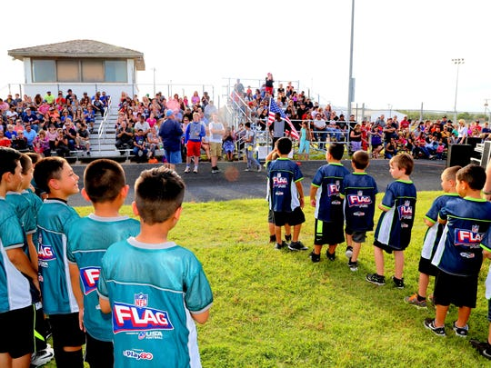 Carlsbad's NFL flag football league kicked off on Tuesday night. Games will resume on Thursday.