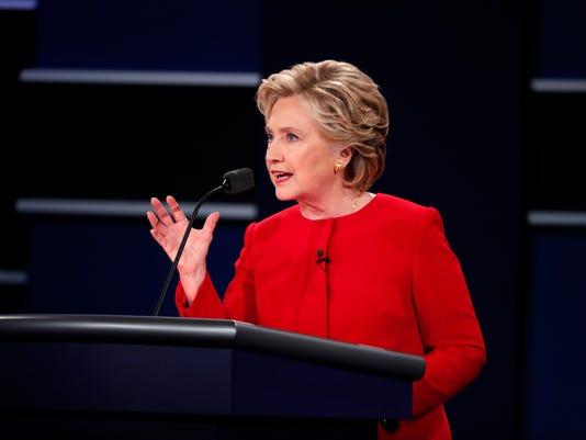 Hillary Clinton speaks during the first presidential debate, at Hofstra University in Hempstead, N.Y.