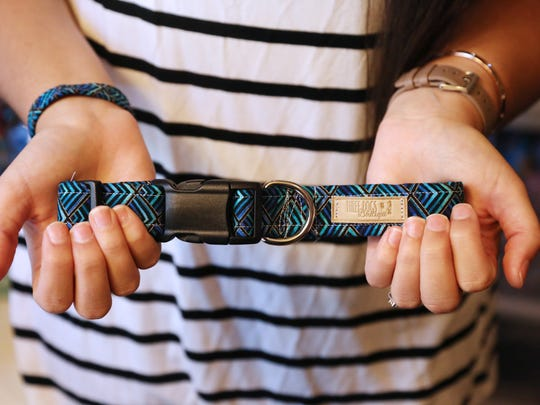 A dog collar made by Kelly Sloan of Three Dogs Boutique.