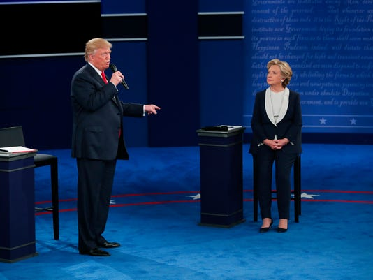 Hillary Clinton and Donald Trump during their second presidential debate at Washington University in St. Louis.