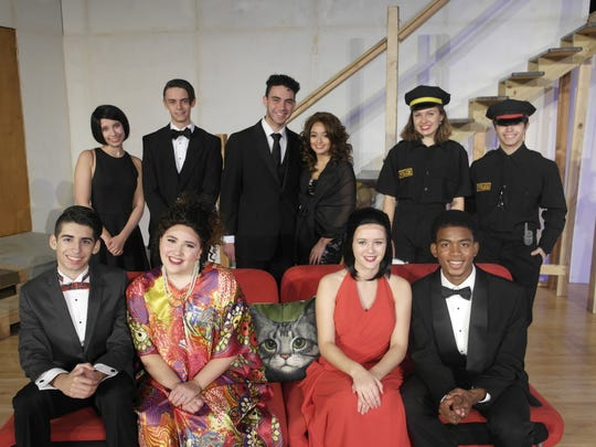 "The cast of UCPAC's ""Rumors"" Top Row (L-R): Kimmy Paltz, Nick Mehno, Steven Pego, Lauren Guerra ,Colleen Falconer, Edwin Rivera  Bottom Row (L-R): Matt Gomez, Deirdre Pepe, Lexi Marta, Makay Johnson."