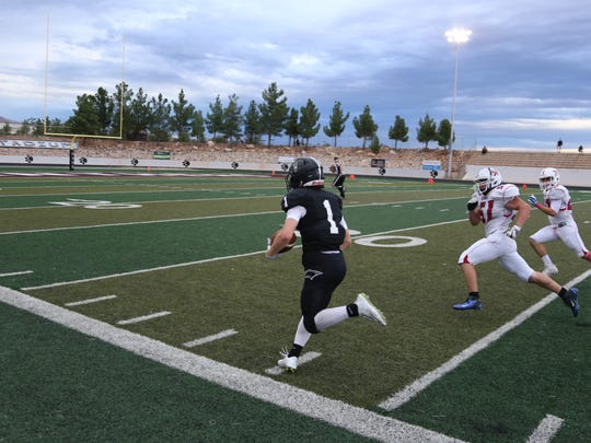 Pine View's Jacob Mpungi rushed for 233 yards and four touchdowns to lead the Panthers to a 58-21 victory over Ben Lomond Friday night. The Panthers will now take on Tooele in the 3AA semifinals.