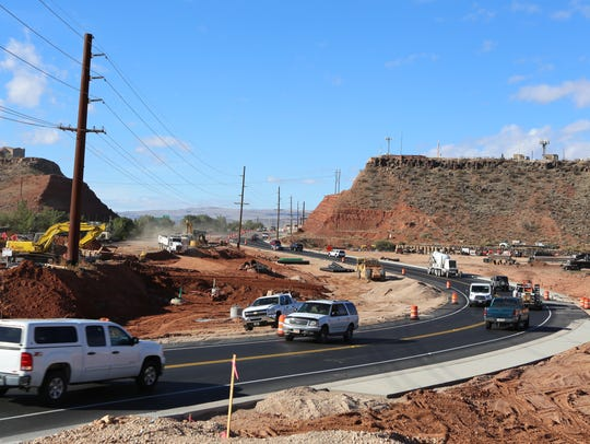 Traffic steers around a construction project along Red Hills Parkway in this file photo from 2016.