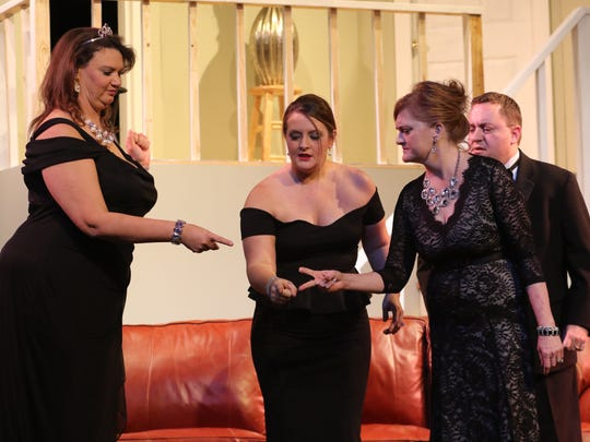 """The cast of """"Rumors"""" by Neil Simon, which is playing at the Strauss Theatre Center."""