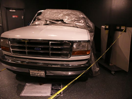 O.J. Simpson's famous Ford Bronco on exhibit at the the Alcatraz East museum in Pigeon Forge Wednesday, Dec. 7, 2016.