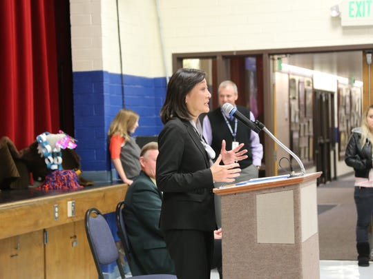 Lynne Ward, executive director of the Utah Educational Savings Plan, visited two assemblies at Washington and Coral Canyon Elementary Schools to talk with students about college savings at a young age. Each student, and every student at Coral Canyon Elementary school, received $50 to put into their own UESP.