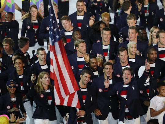 A view of the U.S. delegation during the opening ceremonies