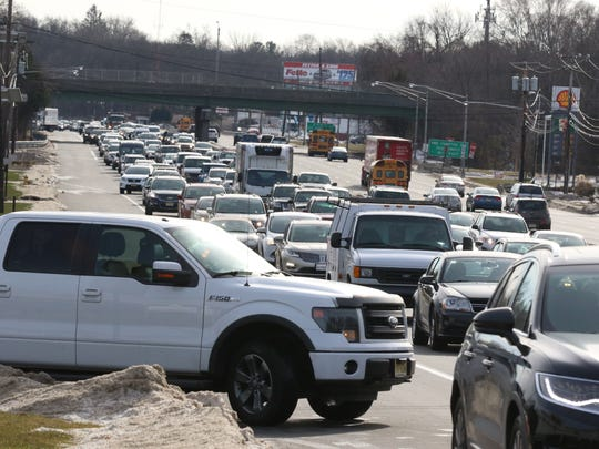 The traffic on Route 23 north in Wayne as vehicles