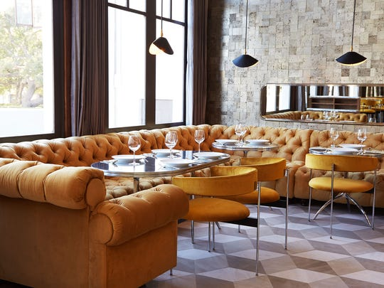 Chesterfield sofas and 1950s-era chairs and light fixtures help set the mood for executive chef Lauren Herman's California-cuisine menu at Somerset in Santa Barbara.