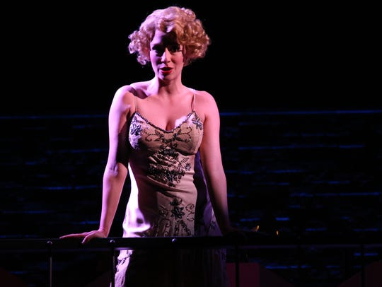 "Kaitlyn Davidson plays Roxie Hart in ""Chicago,"" which"