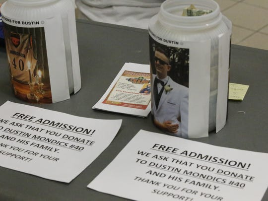 There was no admission to the Moravia-Groton game on Friday night, but fans were asked to donate to the family of Dustin Mondics if possible.