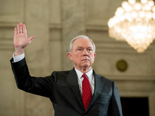 Attorney General-designate, Sen. Jeff Sessions, R-Ala. is sworn in on Capitol Hill in Washington, Tuesday, Jan. 10, 2017, prior to testifying at his confirmation hearing before the Senate Judiciary Committee.