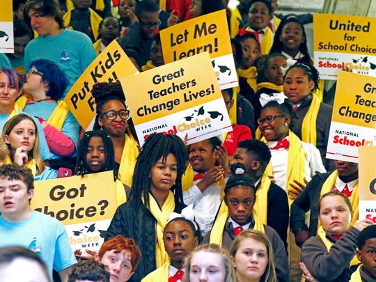 Proponents for a parents' right to choose their children's school gathered with other like-minded families and students at the Capitol at a rally organized by Empower Mississippi. The nonprofit is ramping up efforts touting the merits of school choice.