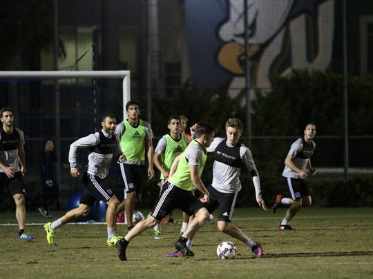 The Chicago Fire participates in drills during the club's preseason training camp at Florida Gulf Coast University on Thursday, Feb. 2, 2017.