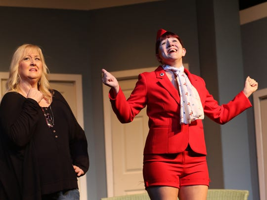 Cindy Scott (L) and Tammy Sims (R) in Strauss Theatre's newest comedy, Boeing Boeing.