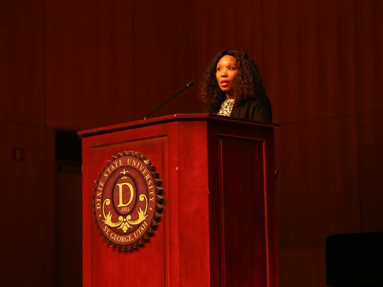 Swati Mandela speaks to the St. George community at Dixie State University on Thursday, Feb. 9 about her grandparent's legacies and the global fight for equality for all.