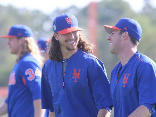 Spring Training -- NY Mets pitchers and catchers for their first official day of Spring Training --
