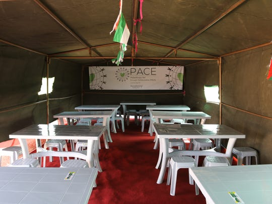 The tent school created at the Al-Azraq camp in Jordan.