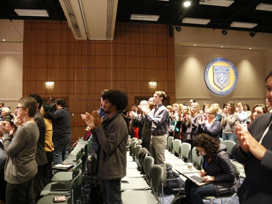 The crowd at Phillips Hall applauds for new Ithaca College President Shirley M. Collado.