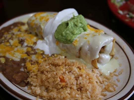The chicken, spinach and artichoke chimichanga at the