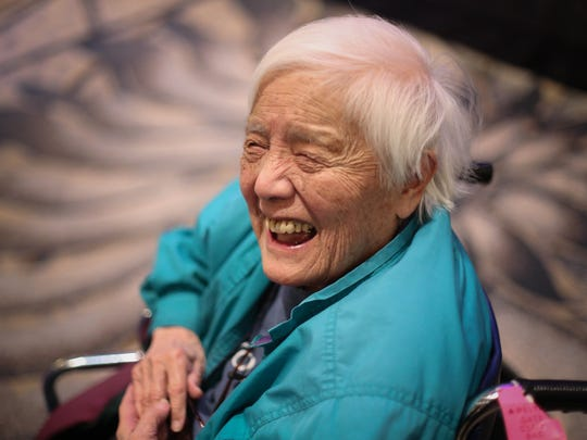 Long-time activist Grace Lee Boggs speaks to a crowd