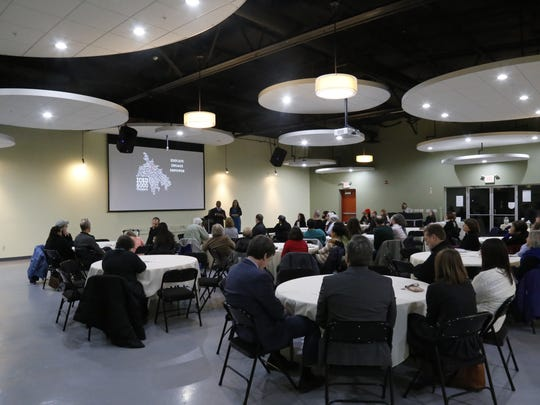 About 50 people attended a conversation with Ithaca City School Superintendent  Luvelle Brown at The Space at Greenstar on Tuesday. The event is part of a monthly conversation series hosted by the Ithaca Coalition for Unity and Cooperation in the Middle East.