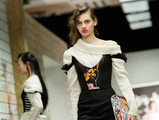 A corseted sweater shown during London Fashion Week