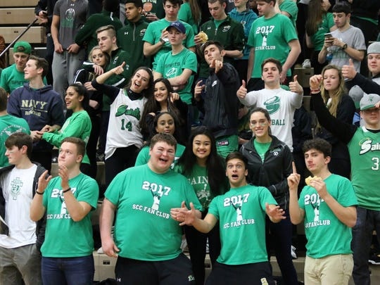 Seton Catholic Central's student section had plenty to cheer at Hudson Valley Community College. The Saints defeated Beekmantown, 79-54 in a Class B state semifinal.