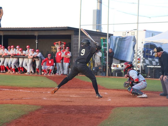 Desert Hills' Bronson Andrus takes an at-bat against Spanish Fork last year.