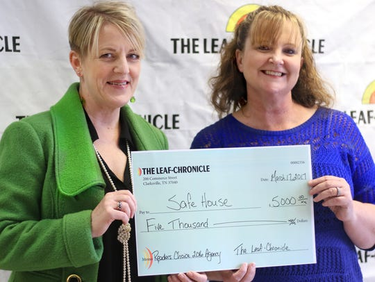 Leaf-Chronicle General Manager Carol Daniels, left,