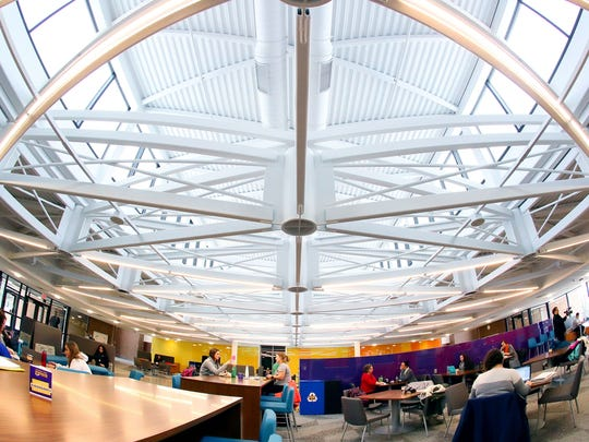 The raised roof -- or clerestory -- is one the biggest changes to the University of Northern Iowa's Schindler Education Center during the building's recent $38 million renovation.