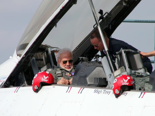 Former NASA astronaut Buzz Aldrin prepares for flight