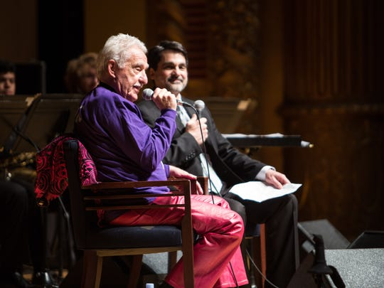 Following the concert, Doc Severinsen answered questions from the audience, moderated by Tim Zifer, director of the UE Jazz Ensemble I.