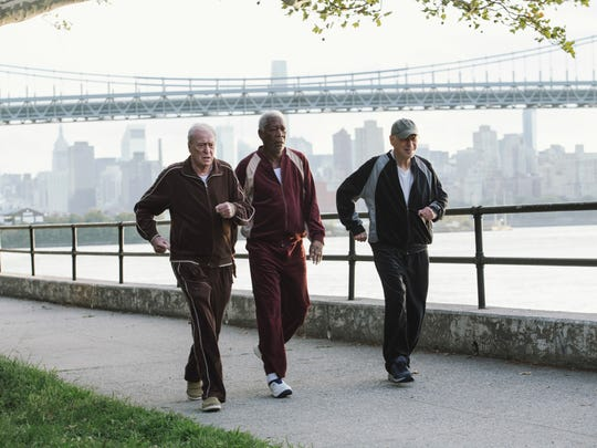 "In a scene from ""Going in Style,"" from left, Michael Caine, Morgan Freeman and Alan Arkin get in shape for a planned bank heist."