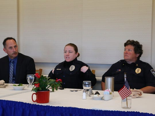 Mackenzie Covert, patrol officer of the Dryden Police Department, gives a short speech during an Ithaca Kiwanis Club Officer of the Month luncheon.