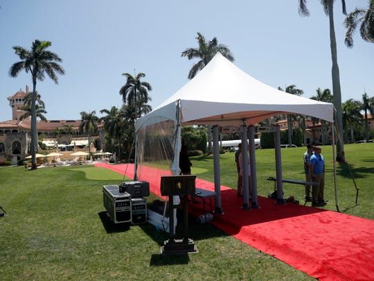 A screening station is set up in front of Mar-a-Lago for President Donald Trump, Sunday, April 16, 2017, in Palm Beach, Fla. (AP Photo/Alex Brandon)