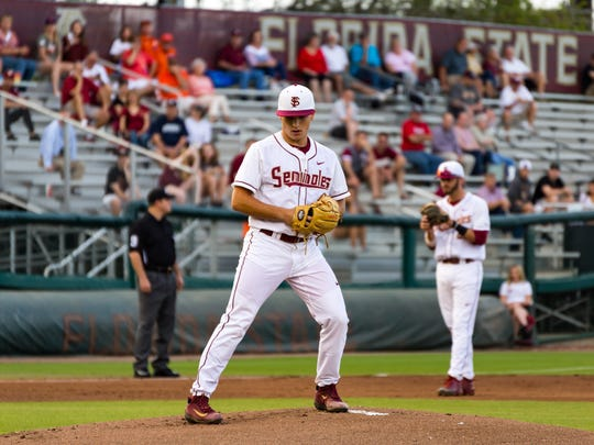 Florida State freshmen pitcher Drew Parrish (43) pitches four innings during  the Seminoles 7-6 win over Clemson on Monday April19 at Dick Howser Stadium in Tallahassee, FL.