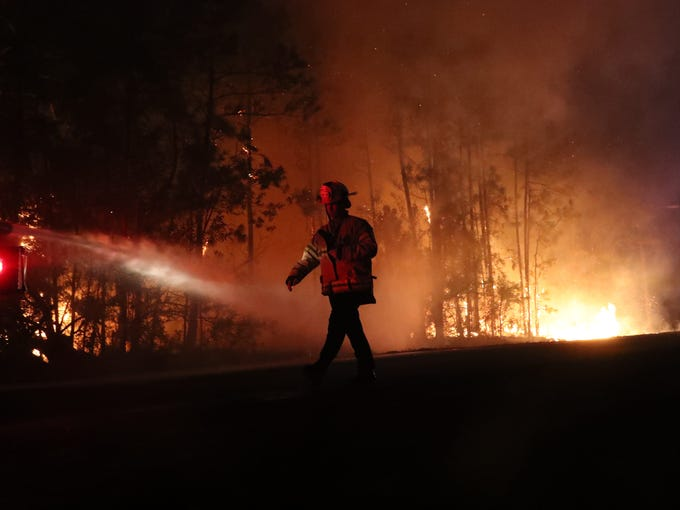 Images from a brush fire that raced through Lehigh