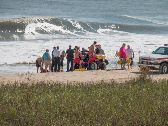 In this file photo, the Ocean City Beach Patrol and the Ocean City Fire Department assist two swimmers at 71st Street.