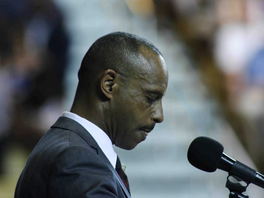 Colonial Superintendent D. Dusty Blakey addresses students and family during William Penn commencement exercises in 2015 at the Bob Carpenter Sports Convocation Center in Newark.